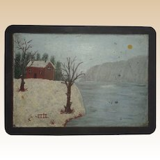 Antique Original Folk Art Naive Winter Scene Painting On Slate