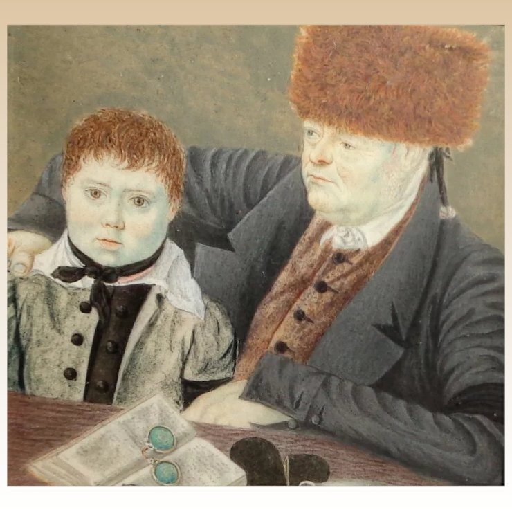Russian Miniature Portrait Painting Father and Son, 1820, in Gold ...