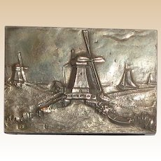 Dutch .833 Silver Match Safe With Detailed Landscape With Windmills, Boats; Hallmarked