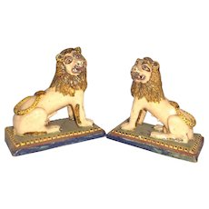 18th Century Pair of French Faience  Lions