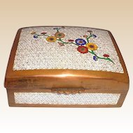 Cloisonne and Enameled Chinese Box With a Branch of Flowers, Nicely Detailed