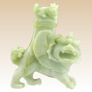 Chinese Carved Jade Foo Dog Censer/Vase, Lidded