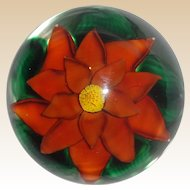 Steven Lundberg Personally Signed Exquisite Art Glass Paperweight With Large Flower