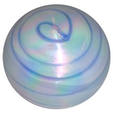 Huge Signed Art Glass Studio Paperweight In Pearl Pink and Blue