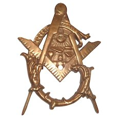 Vintage Masonic Metal Paperweight, Well-Detailed
