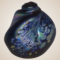 Signed Studio Art Glass Paperweight With An Unusual Shape and Incredibly Beautiful Flowing Pattern
