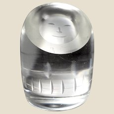 Smiling Eskimo Face Art Glass Paperweight and Hand Cooler From Norway