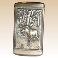 ,Silverplate Vesta - Moose Scene On Front;  Advertisement On Back;   Rintelman's Cafe, Union Hill, New Jersey, (C. 1864 - 1925)
