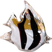 From Sweden, Art Glass Angelfish Paperweight, Signed and Numbered, By Marcolin,
