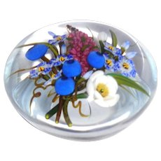 """CHRIS BUZZINI  """"Mixed Bouquet"""" Art Glass Paperweight Signed, ONE OF ONE"""