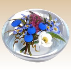 "CHRIS BUZZINI  ""Mixed Bouquet"" Art Glass Paperweight Signed, ONE OF ONE"