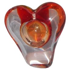 "Stylized Art Glass Heart Paperweight or Vase, By Irice,  Lovely Way To Say ""I Love You"""