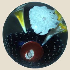 Multi-Floral Art Glass Paperweight, Four Flowers in Five Colors