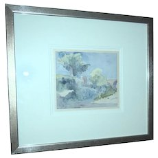 Original Watercolor Of A French Landscape, Signed