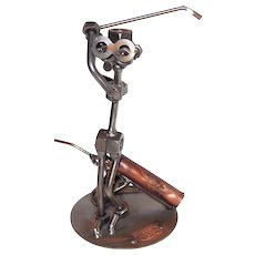 Woman Golfer - Retired Nuts and Bolts Sculpture By Gunter Scholz, of Hinz and Kunst