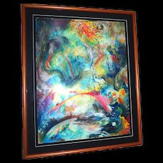 Original Signed Mixed Media Abstract Painting, Dramatic and Exciting