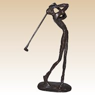 Bronze Sculpture Of Golfer Mid-Swing