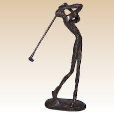 Bronze Sculpture Of Golfer Mid-Swing