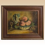 19th Century Signed Original Oil On Canvas, Still Life