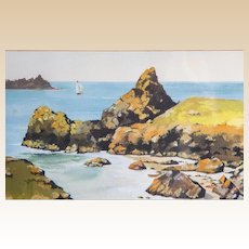 "Original Watercolor ""Seascape"" Signed S. Bates"