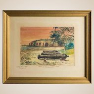"""WILEY CHURCHILL (American, 1900-1987) Signed Original Watercolor """"The Silent Guns of Fort Pickens, Pensacola"""" c. 1974"""