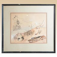 Original Mixed Media Stylized and Imaginative Signed Drawing, 'Schuele B'