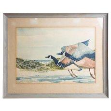 Original Large Watercolor, Signed, By Noted Artist and Illustrator  William Sauts Netamuxwe Bock (Native American b.1939)