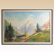 MARGIT PRUSER, (Austrian, b 1902) Signed Original Oil On Canvas Large Mountain Landscape