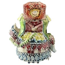 Unusual Signed Hand-Made and Hand-Painted Ceramic Figure of A Woman On A Horse