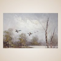 """Signed Oil On Canvas  - """"Ducks In Flight Over A Woodland Pond"""""""