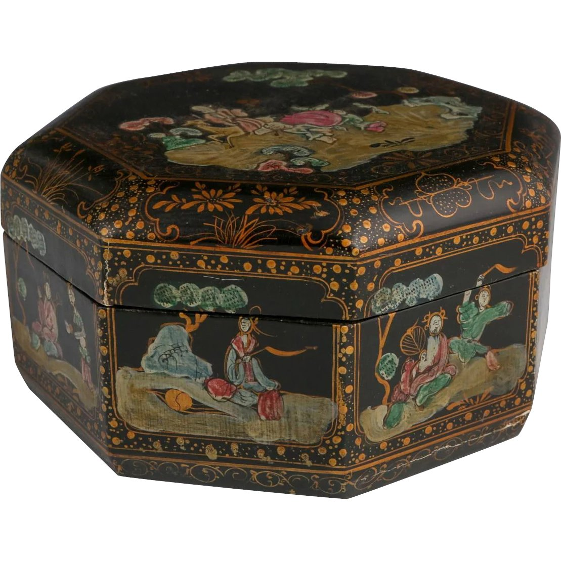 Antiques Collectibles: Antique Chinese Lacquered Octagonal Wedding Box, C. 1900
