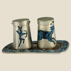 Turquoise Hunt Scenes Inlaid In Mexican Silver Salt and Pepper Shakers With Tray
