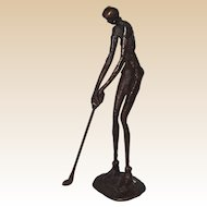 Woman Golfer, Nude,  Metal Sculpture