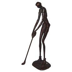 Woman Golfer, Nude,  Metal Sculpture