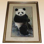 Original Mixed Media Painting of Panda Bear With Bamboo, Signed/Dated Maury, '86