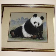 Original Mixed Media Painting Of Panda Eating Bamboo Shoots, Signed/Dated Maury, '88