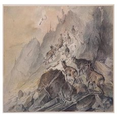 Austrian School, (19th century) Watercolor, Goats Ascending A Hill