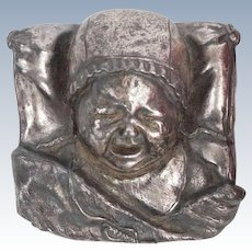 """""""Crying Baby"""" Vintage  Silverplate Paperweight With Original Label"""