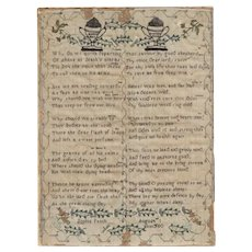 "18th Century Antique Sampler,  Signed ""Sophia Patch""  featuring urns, floral designs and verses, ""Memento Mori"""