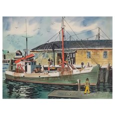 "PAMELA FOX (American 20th Century), Original Signed Mixed Media Harbor Scene ""Anthony and Josephine"""