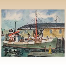 PAMELA FOX (American 20th Century), Original Signed Mixed Media Harbor Scene