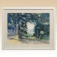 Elbert W. Ryerson (Elmira, N. Y. - 20th Century) Large Signed Original Watercolor, Signed