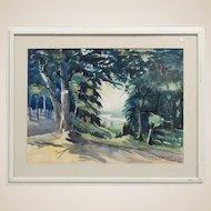 Elbert W. Ryerson (Elmira, N. Y. - 20th Century) Large Signed Original Watercolor, Signed