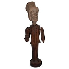 Folk Art Carved Wood Figure of Uncle Sam, With Articulated Arms, Pipe Holder