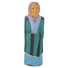 "J. Antonio (Navajo, B. 1931) - Original Signed/Dated Carving - ""Woman In Striped Green Shawl"""