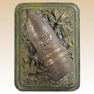 "World War I Trench Art - Artillery Shell With Fleur-De-Lis and ""Soissons"" (France) Paperweight, c. 1918"