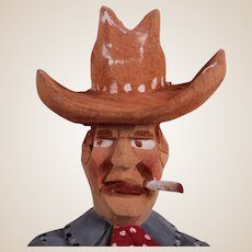 Wooden Jailhouse Carving Of A Cowboy, C. 1910  (From the Machmer Collection)