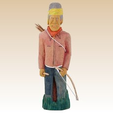 Johnson Antonio (Native American, Navajo, b. 1931 - ) Wood Carving Of Warrior With Bow And Arrows