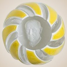 Baccarat Limited Edition Sulphide Paperweight Portraying Woodrow Wilson. Signed M. Renard, Dated 1972.
