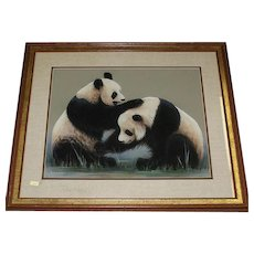 Original Mixed Media Painting Of Two Pandas Playing,  Signed Maury (American 20th Century)